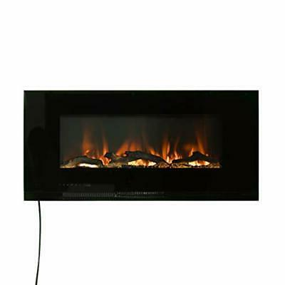 black 42 inch wall mounted electric fireplace