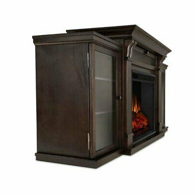 Real Stand with Electric Fireplace in Dark