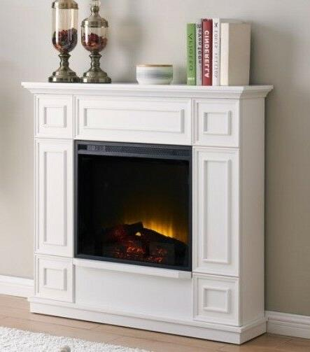 "Classic White Electric Fireplace w/ 44"" Mantle Fireplaces Heater"