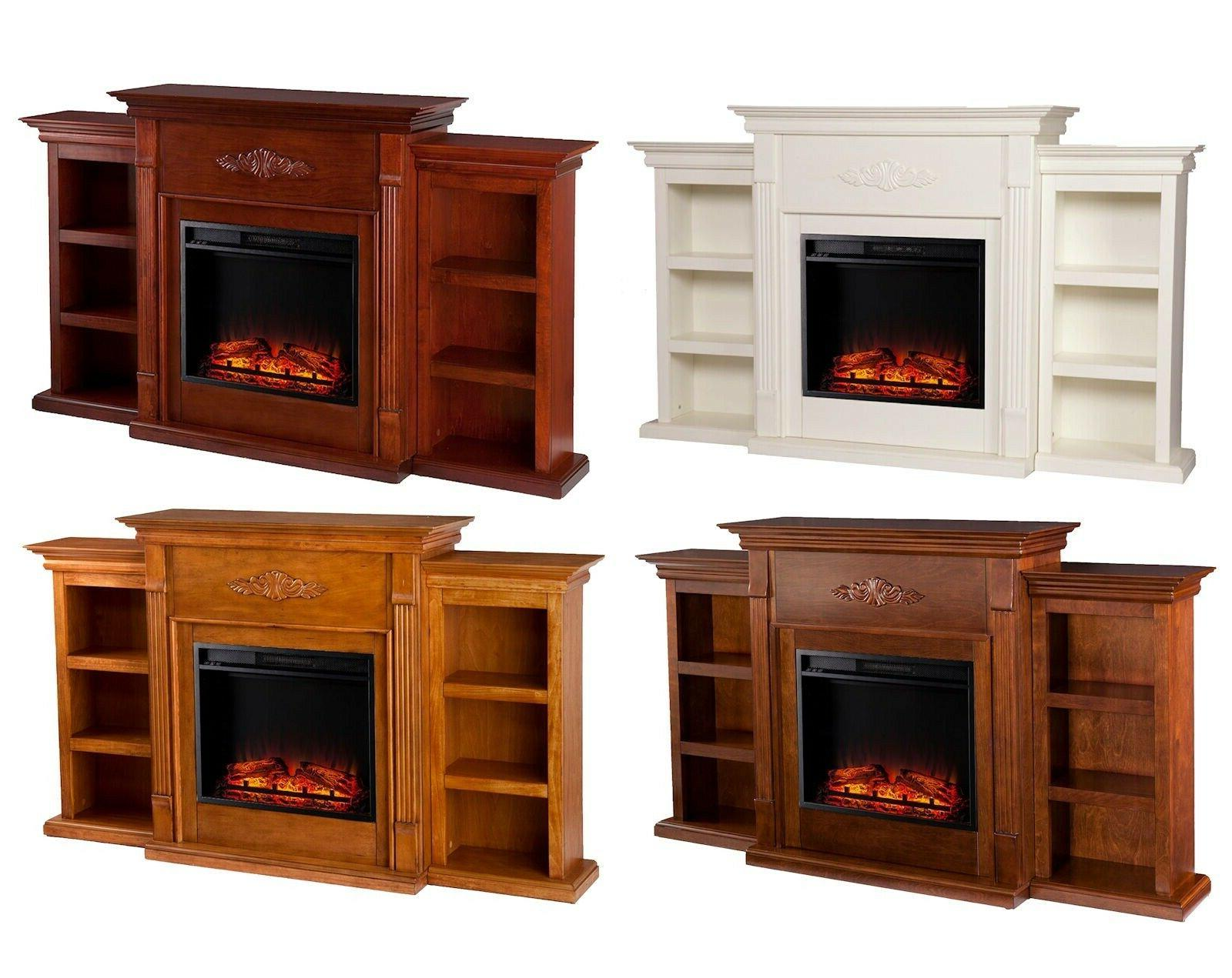electric fireplace heater with led logs wood