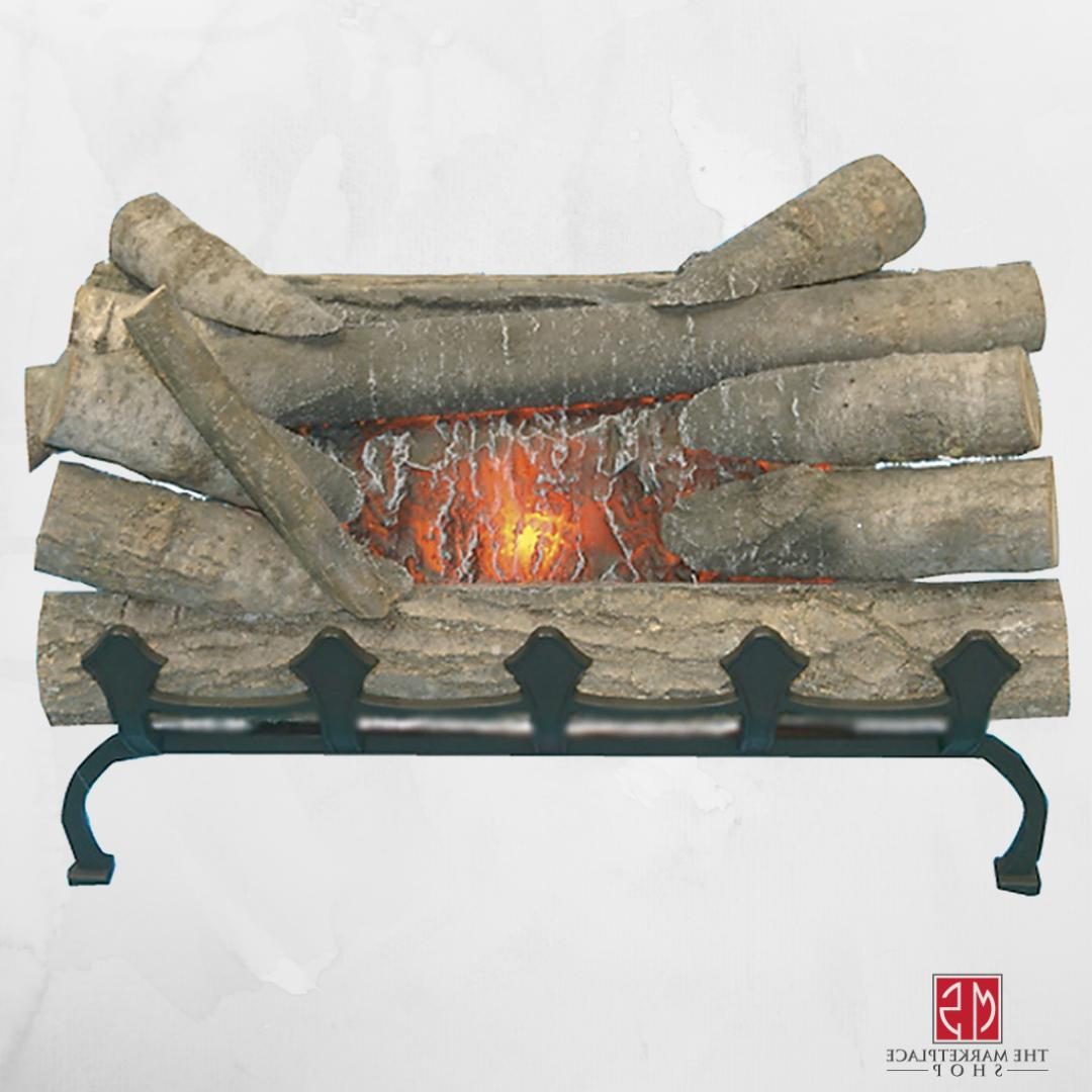 electric fireplace logs with grate crackling glowing