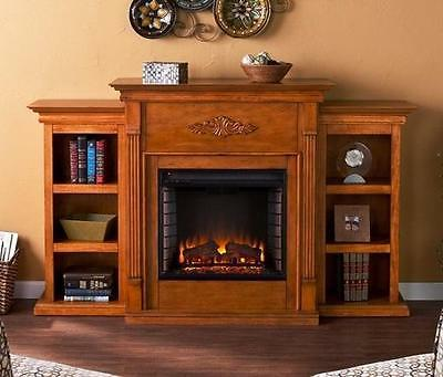 electric fireplace pine mantle and bookcase flame