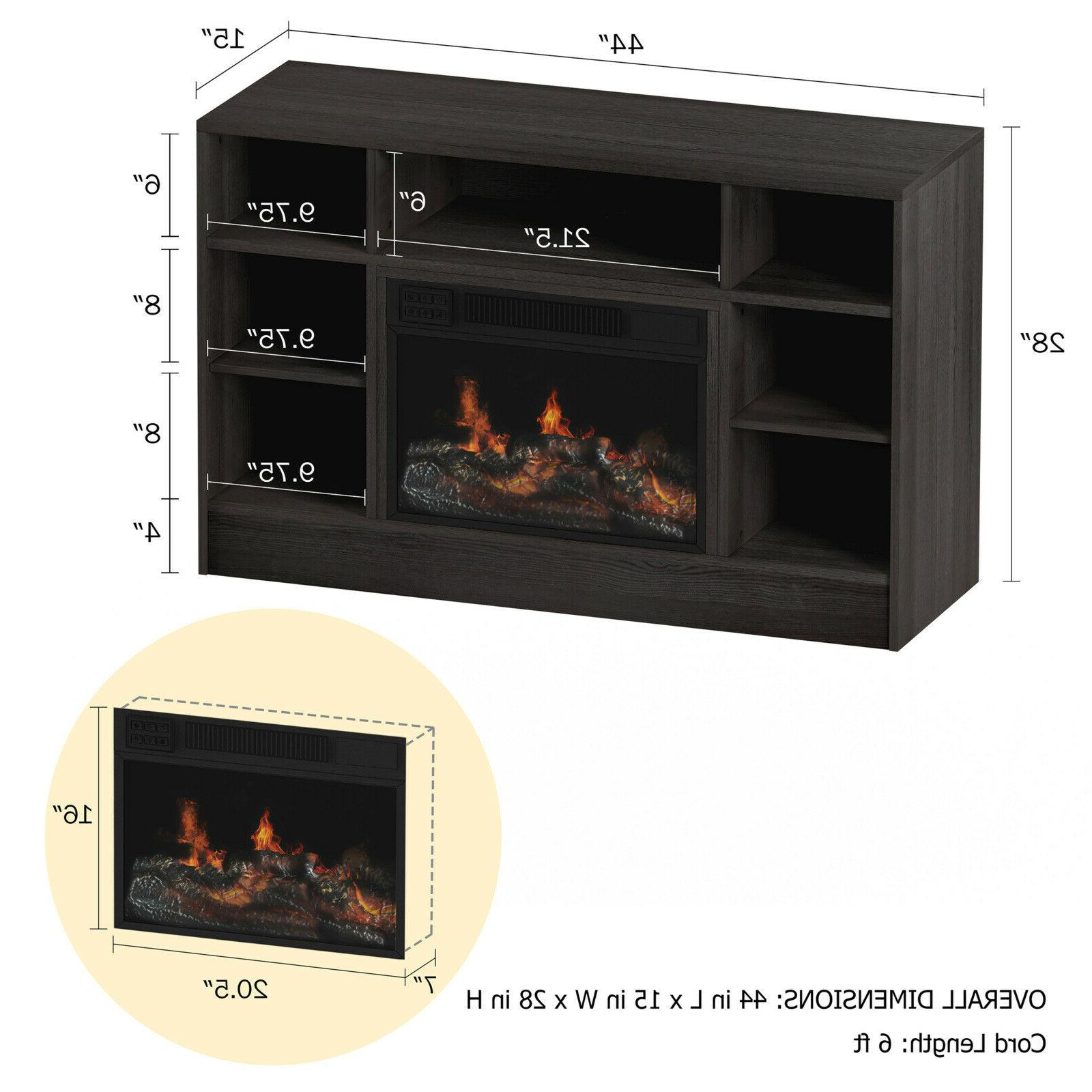 """Electric Fireplace For TVs up 48"""" with Media Shelves,"""