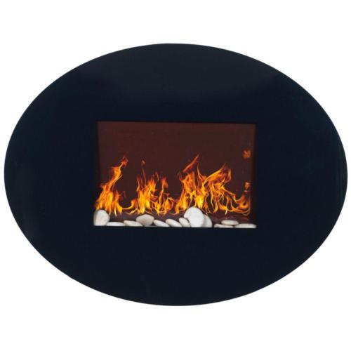 Electric Fireplace Oval Glass Adjustable Flame Effect