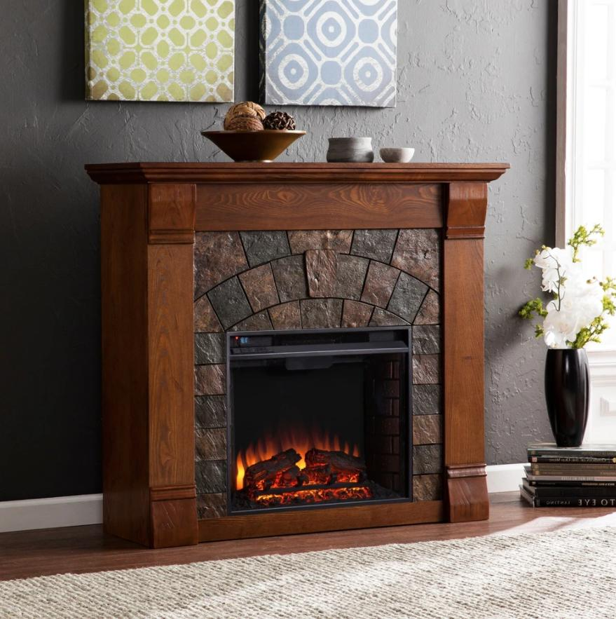 electric fireplace with mantel surround remote self