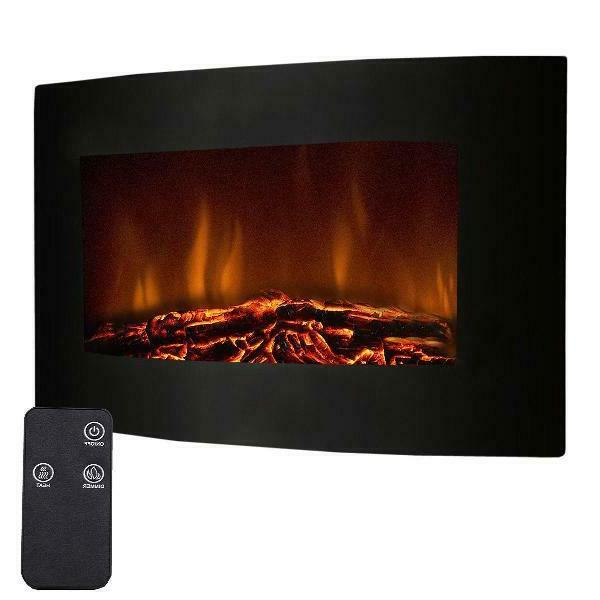fireplace heater electric remote control wall mount