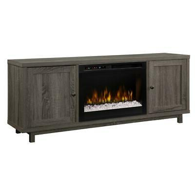 jesse media console electric fireplace with glass