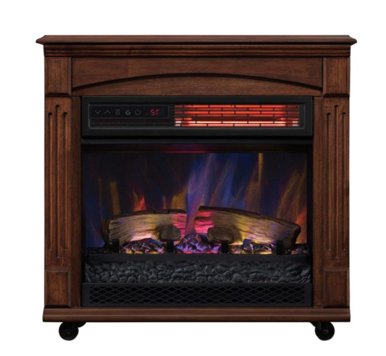 mantel infrared quartz electric fireplace space heater