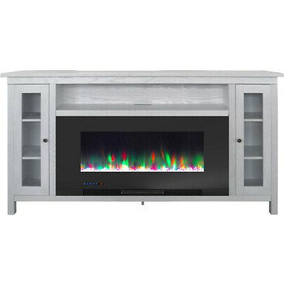 somerset 70 in white electric fireplace tv