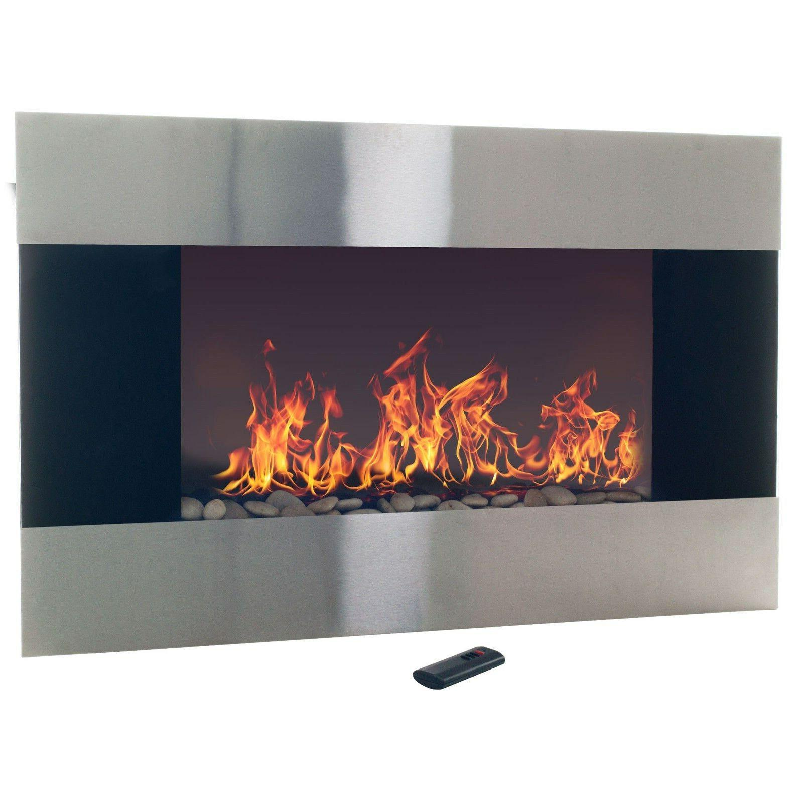 Stainless Electric Fireplace with Remote 35 x 1500W