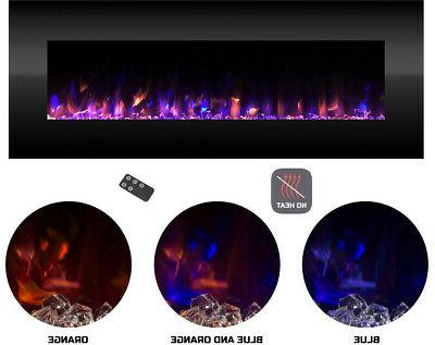 Wall Mounted No Heat LED Electric Fireplace 54 Built-In Timer