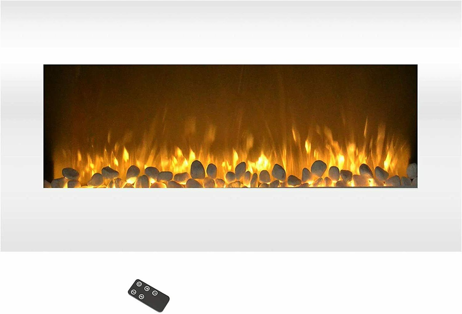 white electric changing fireplace w