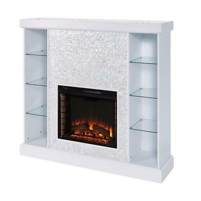 White Electric Fireplace Shelves Heater