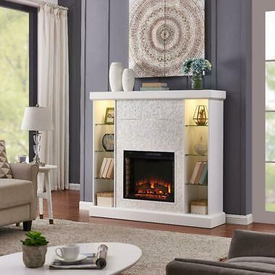 white mosaic tile electric fireplace lighted curio