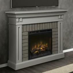 madison mantel electric fireplace with logs in