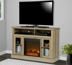 Natural Wooden TV Stand Entertainment Center Electric Firepl