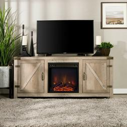 """New Rustic Gray 2 Barn Door Electric Fireplace up to 64"""" TV"""