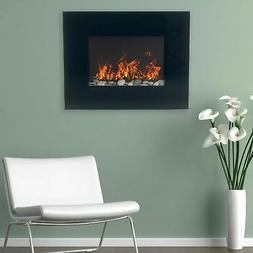 Northwest Black Glass Panel Electric Fireplace Wall Mount wi