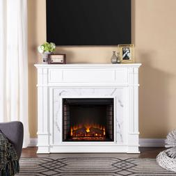 perifyre faux cararra marble electric media fireplace