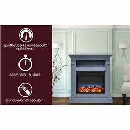 """Sienna 34"""" Electric Fireplace w/Multi-Color LED Insert and B"""