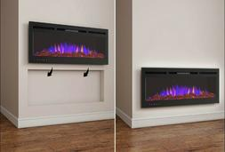 stainless black electric fireplace recessed wall 50