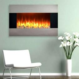 Stainless Steel Electric Fireplace with Wall Mount and Remot