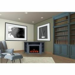 """Stratford Electric Fireplace Heater with 56"""" Blue Corner TV"""