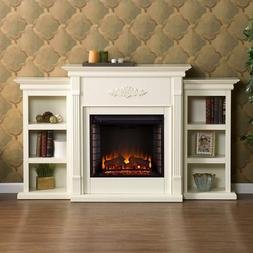Traditional Off-White Electric Fireplace w/Bookshelves Remot