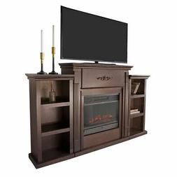 tv stand espresso entertainment with fireplace open