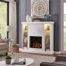 White Mosaic Tile Electric Fireplace Lighted Curio Display S