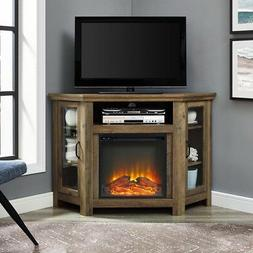wood media stand console with electric fireplace